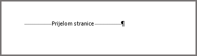 Prijelom stranice pri dnu stranice programa Word