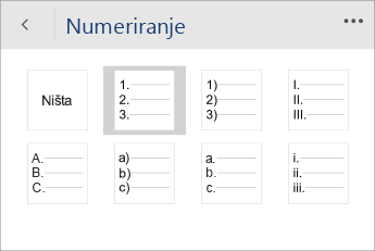 Snimka zaslona izbornika Numeriranje u programu Word Mobile, s odabranim stilom numeriranja.