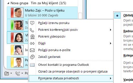 Personaliziranje podataka za kontakt