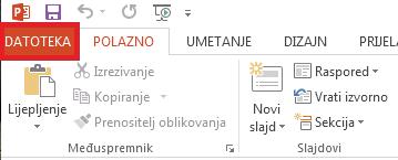 U gornjem lijevom kutu zaslona kliknite DATOTEKA.