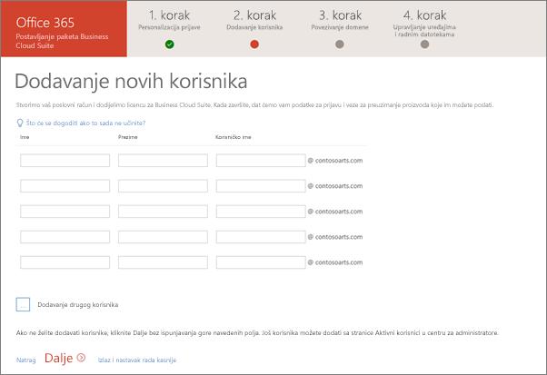 Snimka zaslona dodavanja dvaju novih korisnika u čarobnjaku za postavljanje