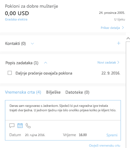 Dodavanje nove aktivnosti u značajci Outlook Customer Manager