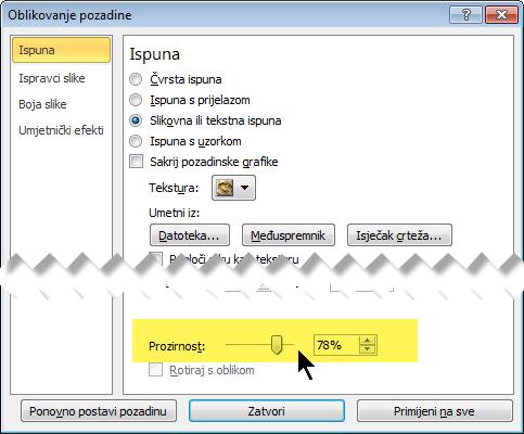 Klizač prozirnosti povucite da biste prilagodili svjetlinu slike