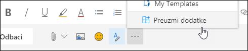 Snimka zaslona s gumbom dodaci pronađite