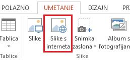 Na kartici Umetanje kliknite Slike s interneta.