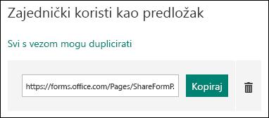 Veza s URL-om predloška obrasca uz gumbe Copy i DELETE.