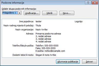 Uređivanje skupa poslovnih informacija u programu Publisher 2010