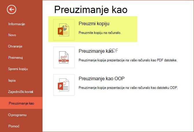 Korištenje Preuzmi kopiju da biste spremili prezentaciju na računalo