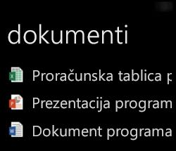 Prikaz dokumenata za računala na uređaju Windows Phone kada je pokrenut Office Remote