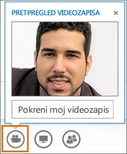 Snimka zaslona pokretanja videoprikaza u sastanku uz pretpregled videoprikaza