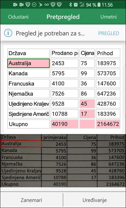 Excel uvoz podataka iz slike daje vam mogućnost ispravljanja problema koja je pronađena prilikom pretvaranja podataka.