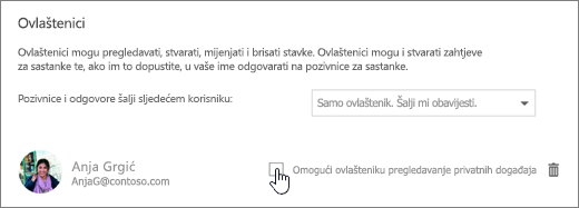 Snimka zaslona potvrdni okvir omogućuju prikaz privatnih događaje delegata.