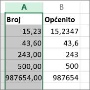 primjer izgleda brojeva uz različite oblike, poput oblika Broj i Općenito.