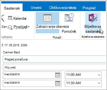 Snimka zaslona s gumbom Bilješke sa sastanka programa OneNote u programu Outlook.