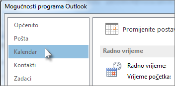 U mogućnostima programa Outlook kliknite Kalendar
