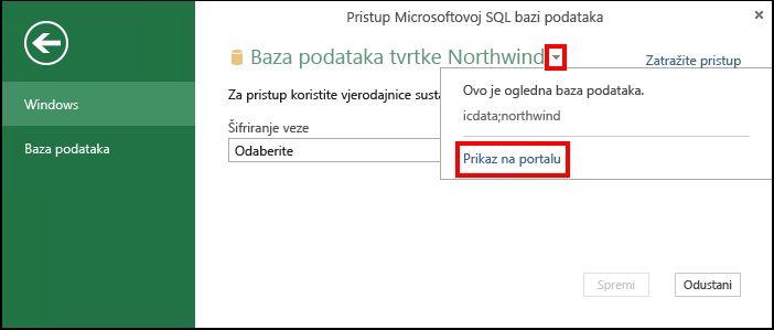 Prikaz podataka o izvoru podataka na portalu