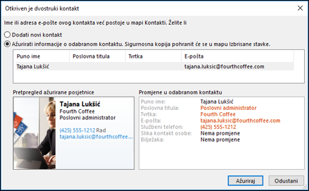 Ako imate duplikat kontakta, Outlook vas pita želite li ažurirati.
