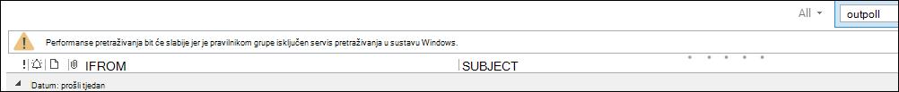 Upozorenje o pretraživanju programa Outlook
