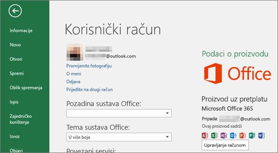Microsoftov račun povezan sa sustavom Office prikazuje se u prozoru Račun aplikacije sustava Office