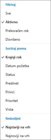 Odaberite kako ćete filtrirati, sortirati i poredati zadatke na popisu zadataka servisa Outlook.com