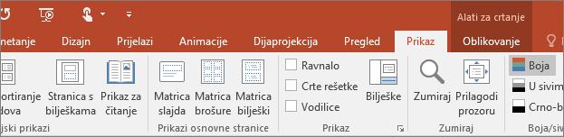 Pokazuje karticu Prikaz na vrpci u programu PowerPoint