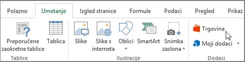 Snimka zaslona s odjeljkom na kartici Umetanje na vrpci programa Excel s pokazivačem koji pokazuje na spremište. Odaberite spremište u trgovini sustava Office i potražite dodatke za Excel.