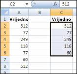 Izvorne vrijednosti u stupcu A i jedinstvene vrijednosti iz stupca A stvorene u stupcu C