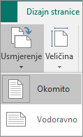 Kartica Dizajn stranice s usmjerenjem odabrana i mogućnosti okomito ili vodoravno.