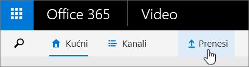 Office 365 Video naredba trakasti prijenos istaknut.