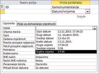 Svojstvo Oblik za polje datuma/vremena