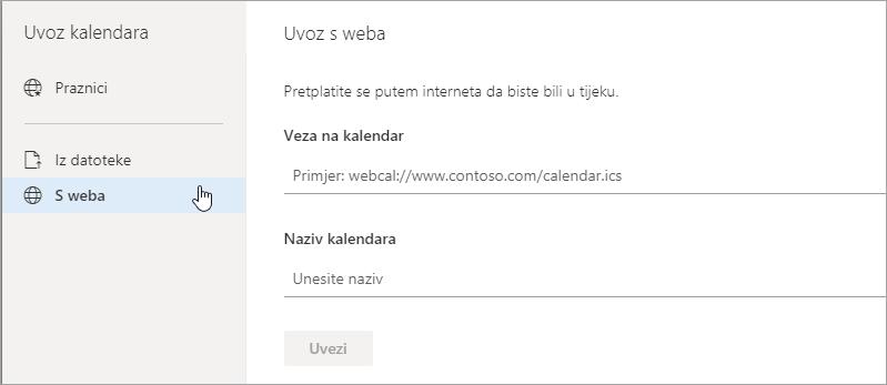 Snimka zaslona na kojoj se prikazuje mogućnost Uvezi s weba