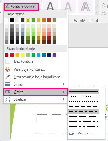 Prikazuje različite stilove crte u sustavu Office