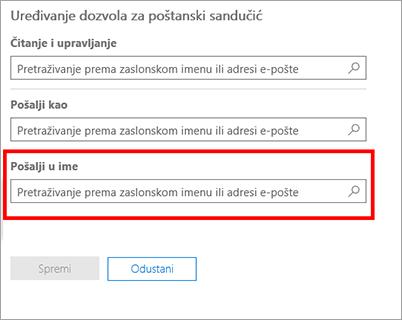 Snimka zaslona: Omogućivanje drugog korisnika da biste poslali ime ovog korisnika