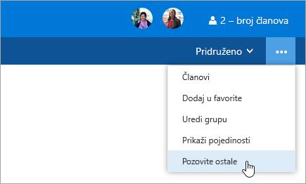 Snimka zaslona na kojoj se prikazuje gumb Pozovi druge na izborniku postavke grupe.