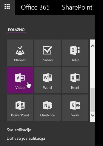 Snimka zaslona na kojoj se prikazuje okno s aplikacijama s aktivnom pločicom portala Video.