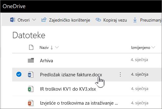 OneDrive odabranim izbornikom datoteka