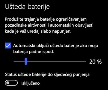 Slika postavki uštede baterije