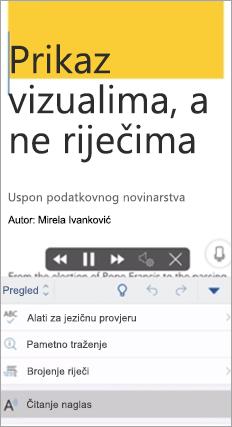 Prikazuje čitanje naglas u aplikaciji Word