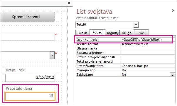 Unošenje funkcije DateDiff u svojstvo Izvor kontrole za tekstni okvir.