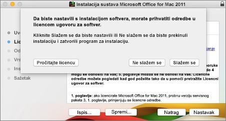 Snimka zaslona s prozorom za prihvaćanje licencnog ugovora za softver