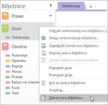 Snimke zaslona načina zatvaranja radne bilježnice u programu OneNote 2016.