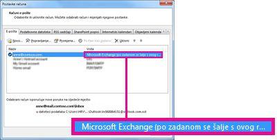 Račun za Microsoft Exchange kako se prikazuje u dijaloškom okviru Postavke računa