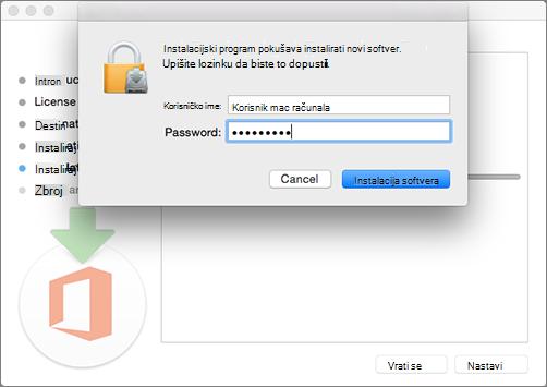 Unesite lozinku administratora da biste započeli instalaciju