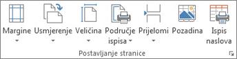 Grupa Postavljanje stranice na kartici Izgled stranice