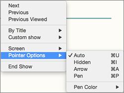 Pritisnite Control i kliknite da biste vidjeli popis naredbi tijekom snimanja