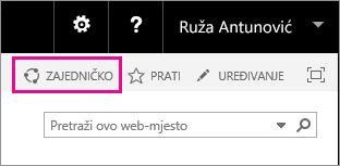 Snimka zaslona kontrole Zajedničko korištenje za zajedničko korištenje web-mjesta