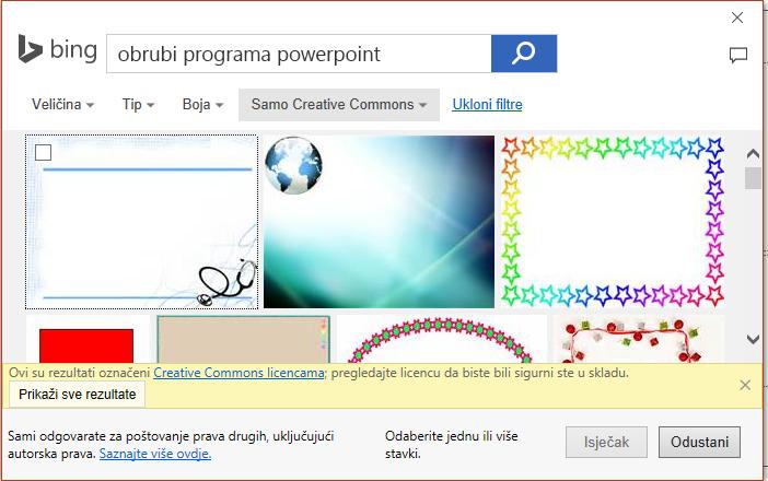 Rezultati pretraživanja za obrube PowerPoint servisu Bing.