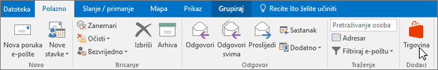 Snimka zaslona prikazuje karticu Polazno u programu Outlook s pokazivačem koji pokazuje na ikonu trgovine u grupi Dodaci.