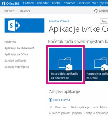 Pločica Distribuiranje aplikacija za SharePoint na web-mjestu kataloga aplikacija