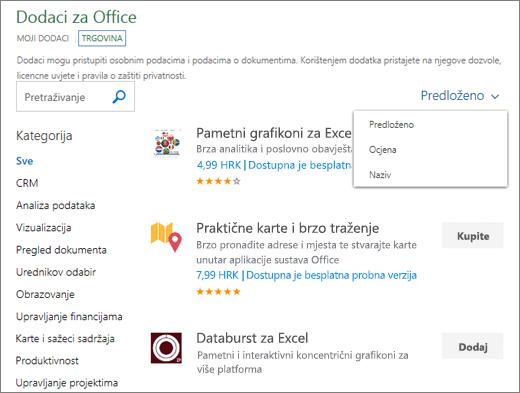 """Snimka zaslona odjeljka trgovine na stranici dodaci sustava Office, u kojoj možete potražiti dodatak prema njegovom ocjenjenom nazivu ili koristiti mogućnost """"predložena za vas"""". Da biste pronašli dodatak, možete koristiti i okvir za pretraživanje."""